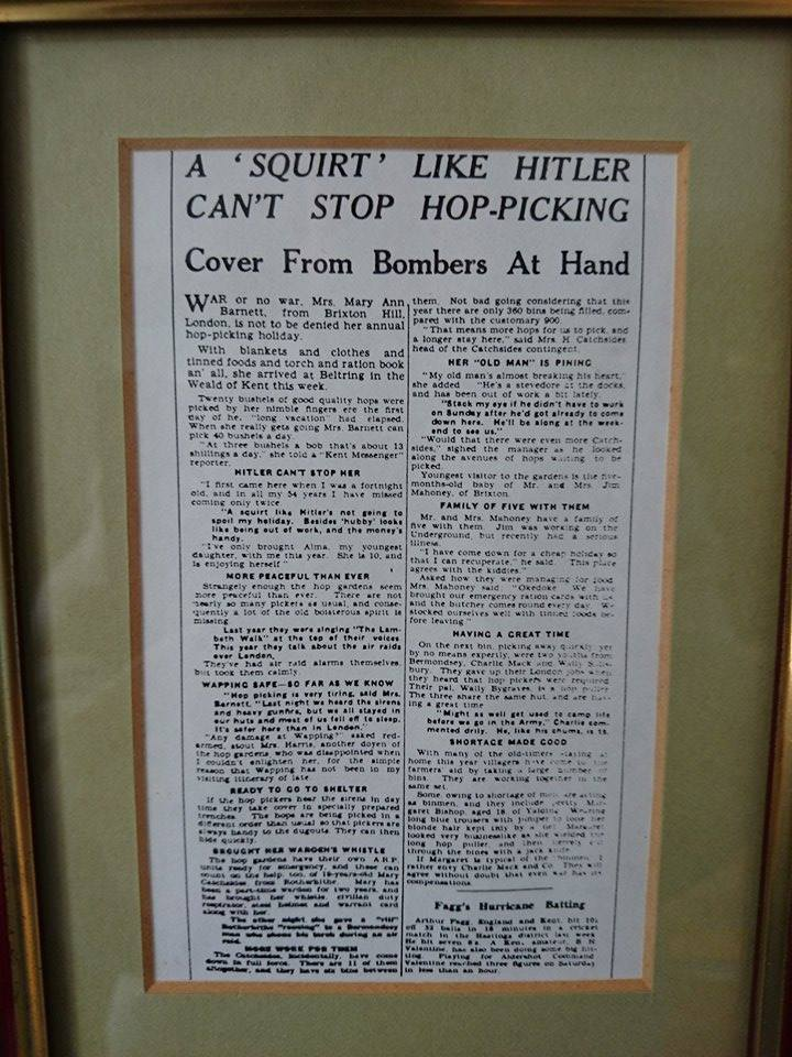 1940s newspaper cutting, photographed in Hunton Village Hall by Gavin Atkin.