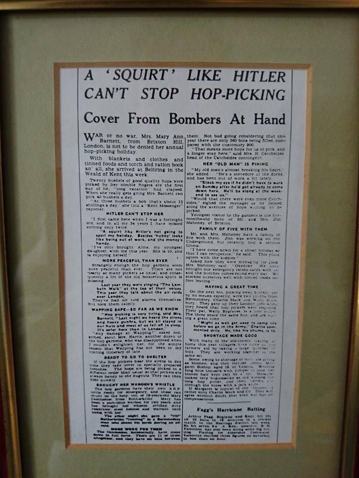 1940s newspaper cutting, photographed in Hunton Village Hall by Gavin Atkin.